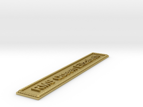 Nameplate RMS Queen Elizabeth in Natural Brass