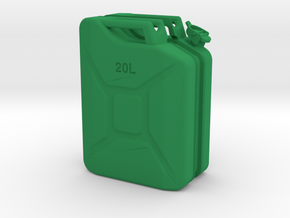 1/6th Scale Jerry Can / gas can in Green Strong & Flexible Polished