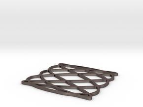 Lissajous coaster 3:5 pi/2 in Polished Bronzed Silver Steel