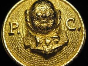 Official Pickwick Club Button 2011 in Polished Gold Steel