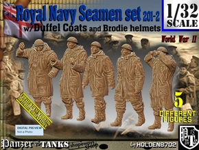 1/32 Royal Navy Duffel Coat Set201-2 in White Natural Versatile Plastic