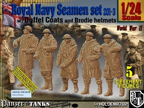1/24 Royal Navy Duffel Coat Set201-3 in White Natural Versatile Plastic