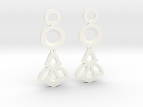 Little Flowers. Earrings in White Processed Versatile Plastic