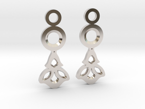 Little Flowers. Earrings in Rhodium Plated Brass