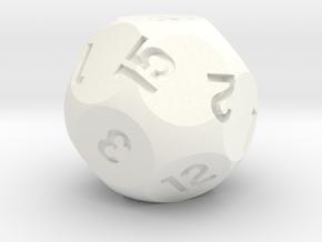 d15 Sphere Dice in White Processed Versatile Plastic