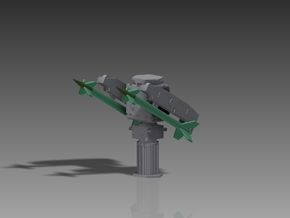 SA N 4 Gecko rockets and Launcher 1/100 in Smooth Fine Detail Plastic
