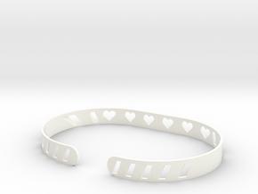 Sleek Heart Bracelet in White Processed Versatile Plastic
