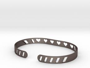 Sleek Heart Bracelet in Polished Bronzed Silver Steel