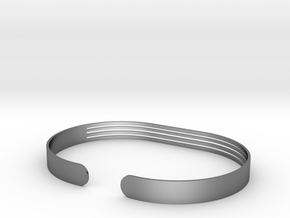 Front Stripe Extended Bracelet in Polished Silver