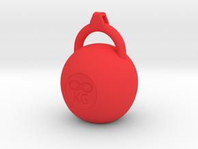 Kettleble pendant in Red Processed Versatile Plastic