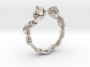 Roses Ring in Rhodium Plated Brass: 5 / 49