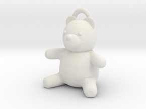 Tiny Teddy Bear w/loop in White Natural Versatile Plastic