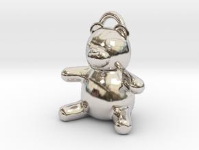 Tiny Teddy Bear w/loop in Platinum