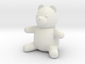Tiny Teddy Bear (no loop) in White Natural Versatile Plastic