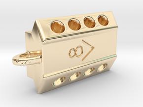 V8 engine keychain in 14k Gold Plated Brass