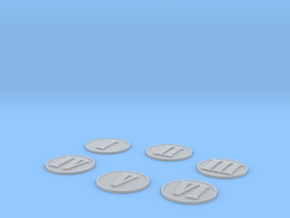 6 Basic Numbered Objective Markers in Smooth Fine Detail Plastic