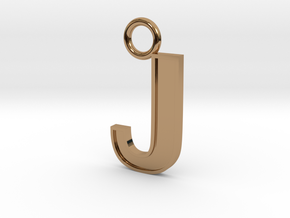 Letter J Key Ring Charm with decorative back holes in Polished Brass