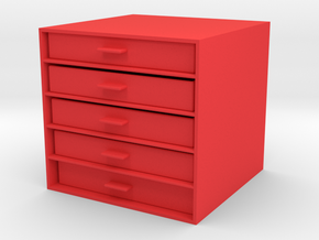 Desktop Cupboard in Red Processed Versatile Plastic