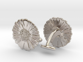 Daisy Cufflinks in Rhodium Plated Brass