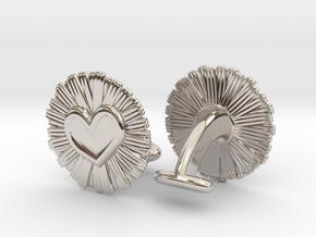 Daisy Heart Cufflinks in Platinum