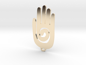 Pedant Native America Hand Size Standard in 14K Yellow Gold