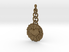 Daisy Heart Keychain Charm in Natural Bronze (Interlocking Parts)