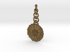 Daisy Keychain Charm in Natural Bronze (Interlocking Parts)