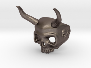 Ring Skull n9 in Polished Bronzed Silver Steel