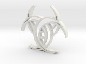 Celtic Three Crescents pendant in White Natural Versatile Plastic