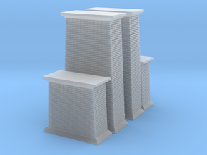 Bridge Abutments 4 Z Scale in Smooth Fine Detail Plastic