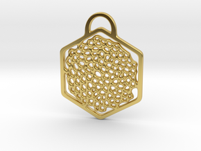 """""""O! My Honey(comb)"""". Pendant in Polished Brass"""
