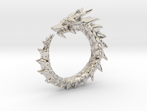 Dragon Amulet Complex in Rhodium Plated Brass