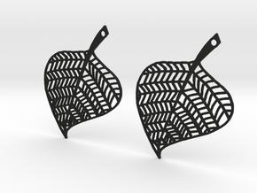 Hand Drawn Leaf Earrings in Black Natural Versatile Plastic