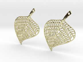 Hand Drawn Leaf Earrings in 18k Gold Plated Brass