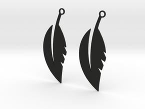 Feather Earrings in Black Natural Versatile Plastic