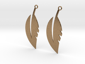 Feather Earrings in Natural Brass