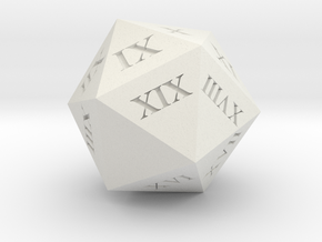Customizable Spindown D20 with Roman Numerals in White Natural Versatile Plastic