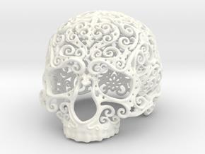 Intricate Filigree Skull 5cm in White Processed Versatile Plastic