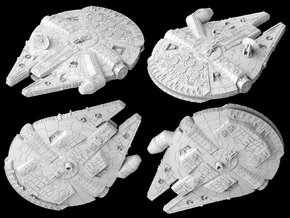 Inverted Millennium Falcon (1/270) in White Natural Versatile Plastic