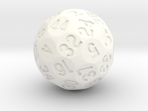 d44 Sphere Dice in White Processed Versatile Plastic