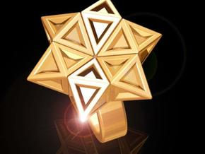 Star of David Ring in Polished Bronzed Silver Steel