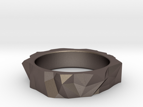 Origami Ring in Polished Bronzed Silver Steel: 6 / 51.5