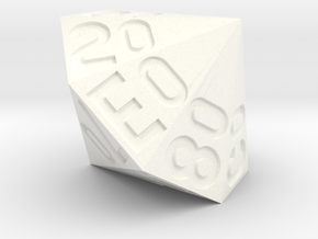 d16 Hex Percentile Die in White Strong & Flexible Polished