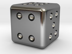 D6 Precious Metal Micro Dice - 6mm in Polished Silver