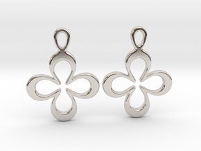 Four-leaf clover. Earrings in Rhodium Plated Brass