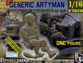 1/16 Right Artyman for ZU-23-2 AA Gun 022 in White Natural Versatile Plastic