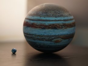 Jupiter & Earth to scale in Full Color Sandstone