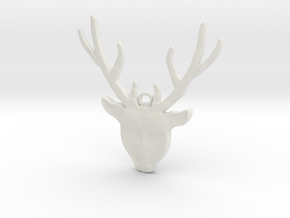 Deer head with antlers - Pendant in White Natural Versatile Plastic