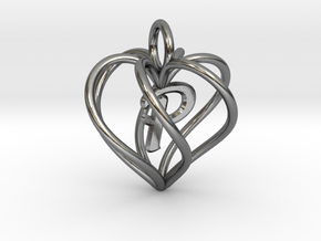 My Heart is Yours pendant, Initial P in Polished Silver