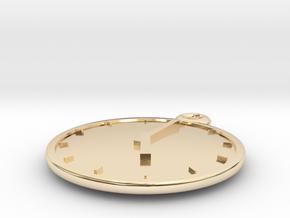 Clock Keychain - Five O' Clock in 14k Gold Plated Brass